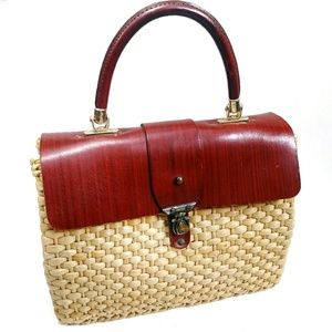 🚺VINTAGE Straw & Leather Handbag